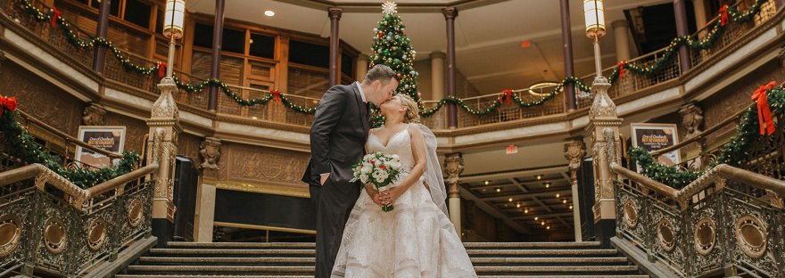 Mr. & Mrs. Lewis - Christmas Themed Wedding - The Hyatt Regency Cleveland at the Arcade